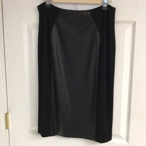 Lovely black vegan leather front pencil skirt NEW
